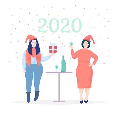 Women celebrating New Year 2020