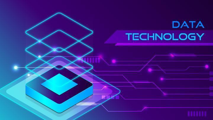 Modern microchip technology on circuit background