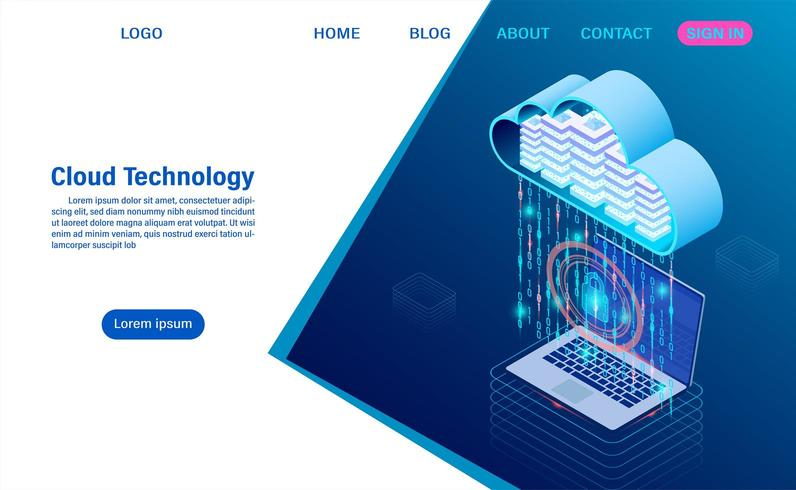 Modern cloud technology and networking concept vector