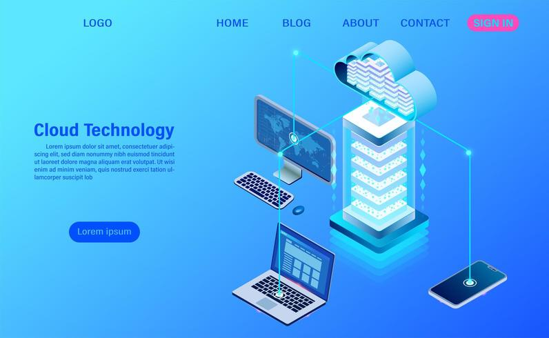 Cloud technology and networking concept landing page vector