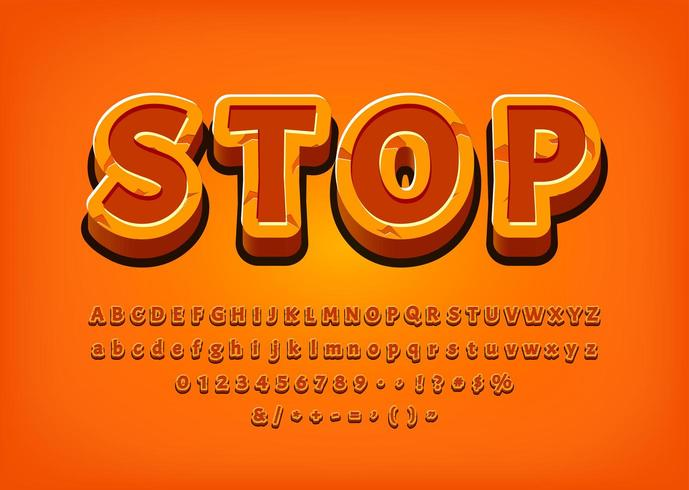 Stop 3d Alphabet game tittle text effect