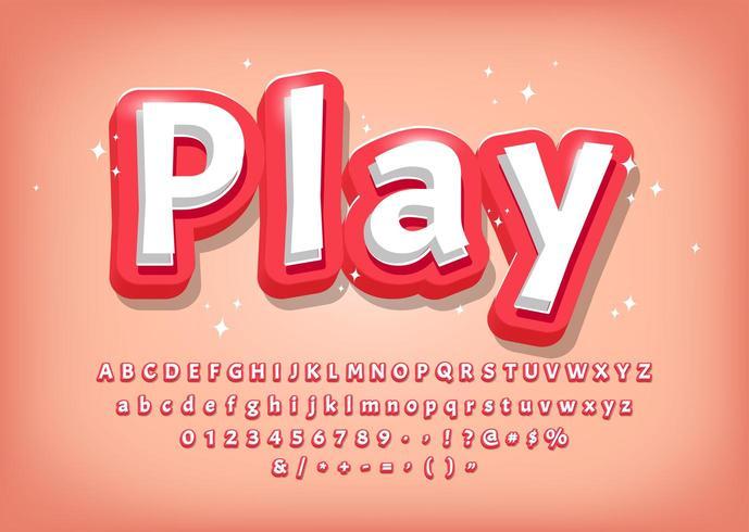 Alphabet 3d moderne, titre de style bande dessinée vecteur