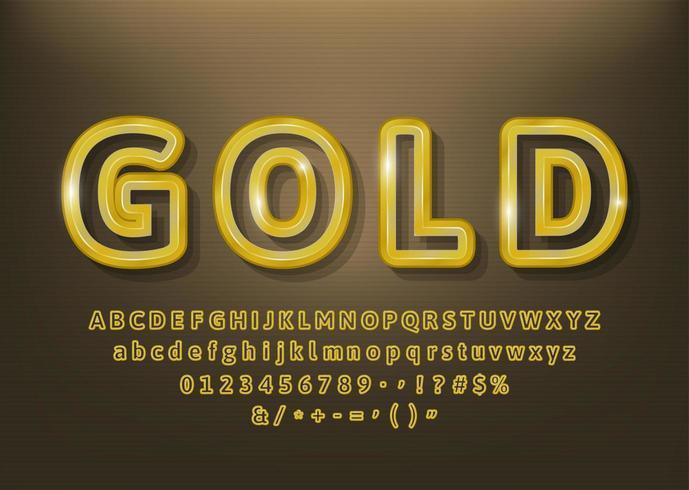 Guld beskriver alfabetet bokstäver