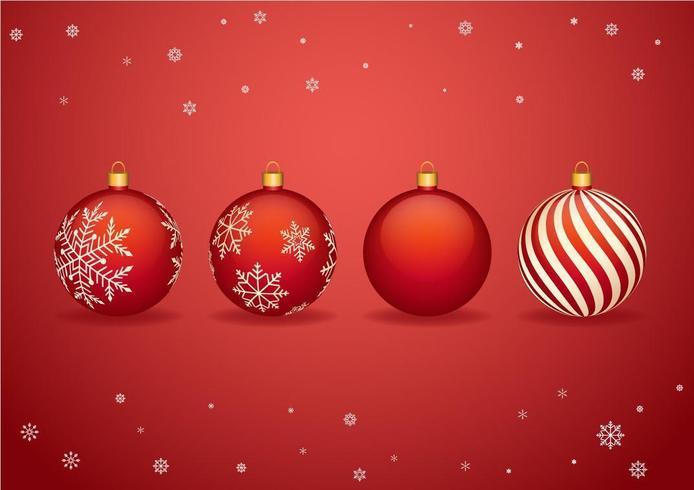 Bolas rojas de Navidad con copos de nieve para Navidad vector