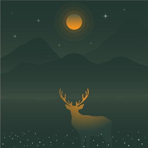 Hjortkontur och gröna berg under den gula fullmånen