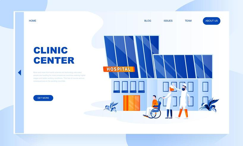 Clinic center landing page template with header