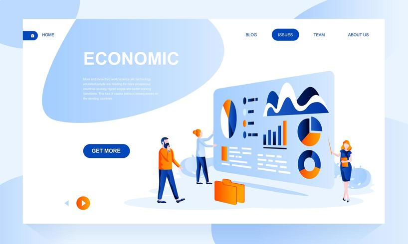 Economic flat landing page template with header