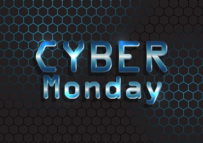 Cyber Monday background with metallic text on hexagonal pattern  vector