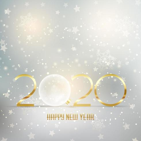 Happy New Year background with gold lettering and bauble