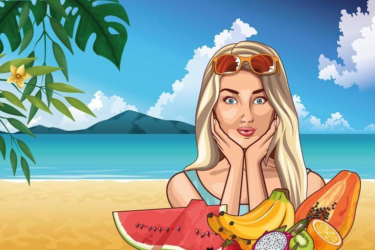Moda pop art e cartone animato bella donna