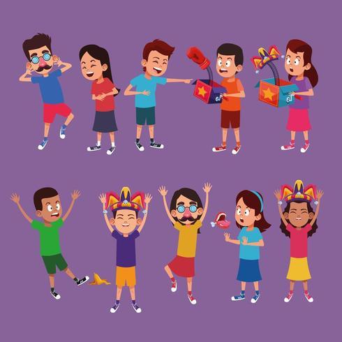 Kids with jokes cartoons vector