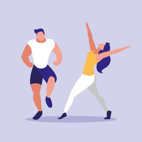 joven pareja fitness bailando vector