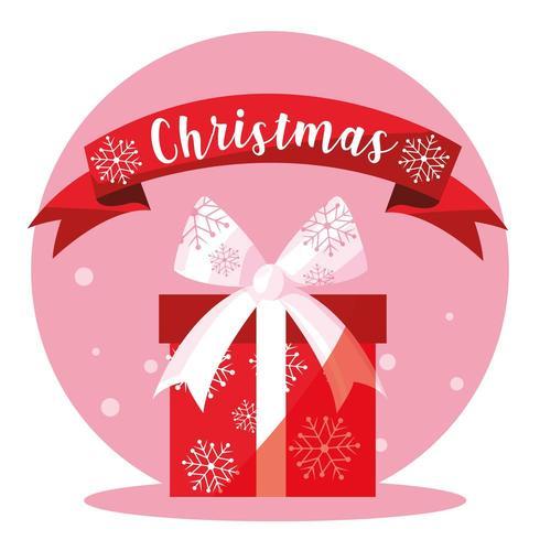 presentask med god jul med band vektor