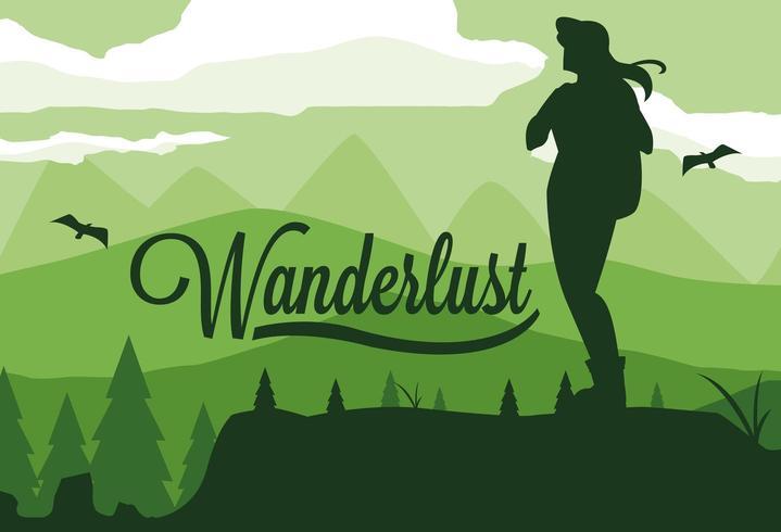escena paisaje bosque con viajero wanderlust vector
