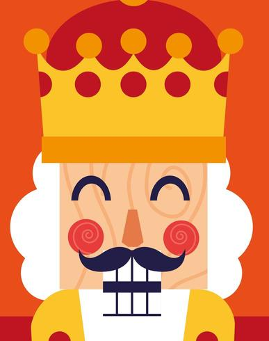 face of nutcracker king toy icon vector