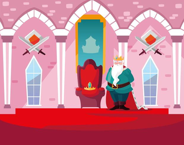 Rey en el castillo de cuento de hadas con decoración vector