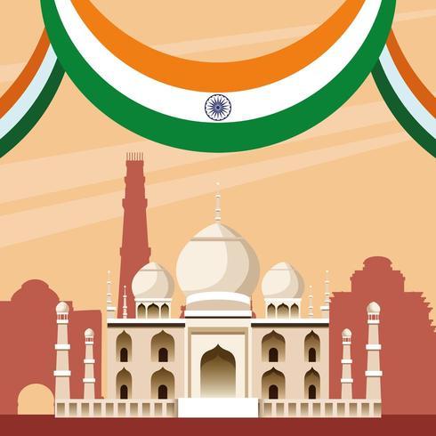 Arquitectura del edificio del monumento nacional de la India vector