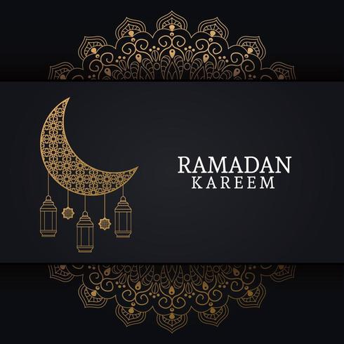 ramadan kareem with waning moon and islamic art