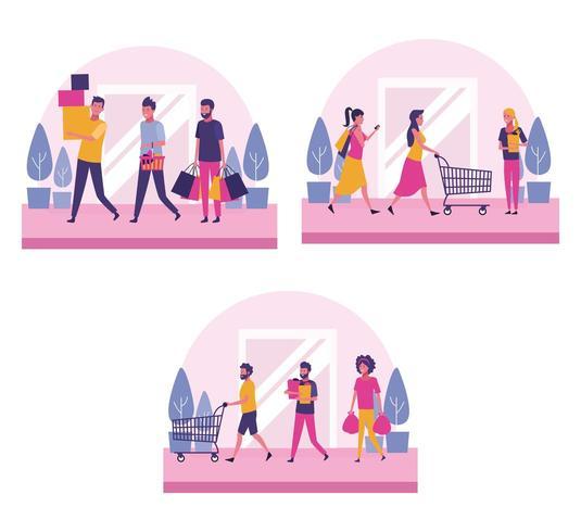 Conjunto de pessoas às compras vetor
