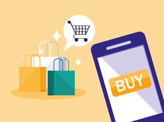 shopping online with smartphone and bags