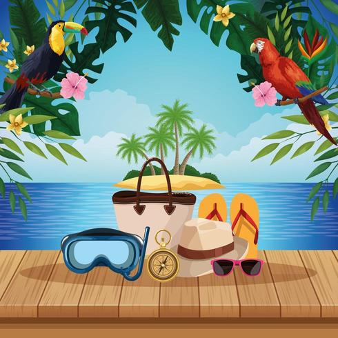 Spiaggia estiva ed elementi di viaggio