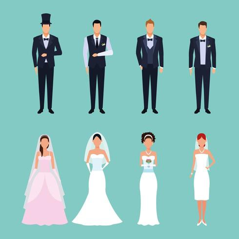 set of wedding outfits  vector