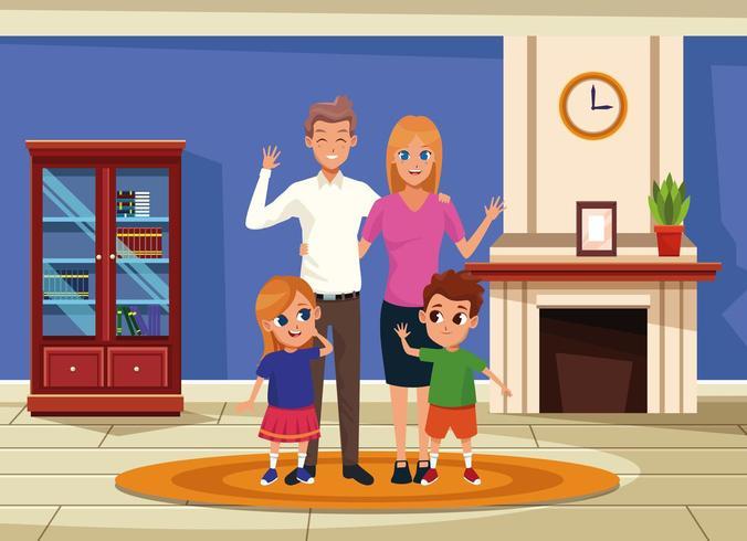 Familjföräldrar och barnkarikarteckningar
