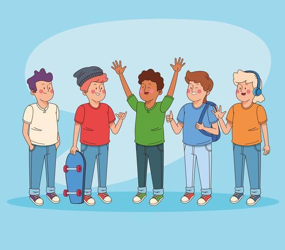 Adolescentes amigos que se divierten dibujos animados vector