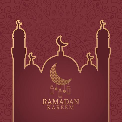 Ramadán Kareem con luna menguante y arte islámico vector