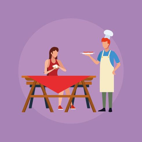 Family barbecue picnic vector