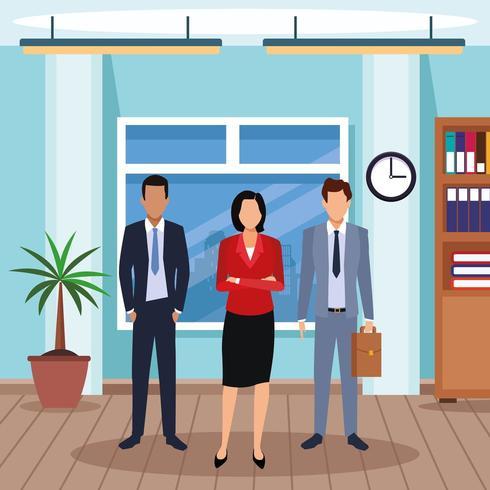 uomini esecutivi e donna in piedi in ufficio vettore