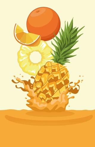 orange and pineapple falling for smoothie vector