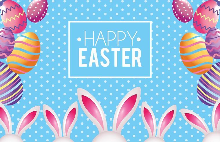 Emblema de feliz Páscoa com decoração de ovos de Páscoa e coelho