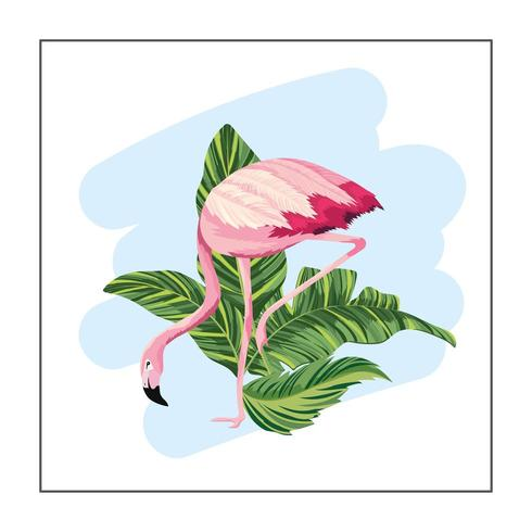 tropical flamingo with exotic leaves plants