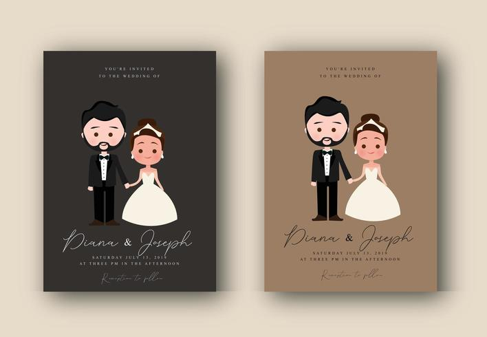 Wedding Invitation Set with Bride and Groom Holding Hands vector