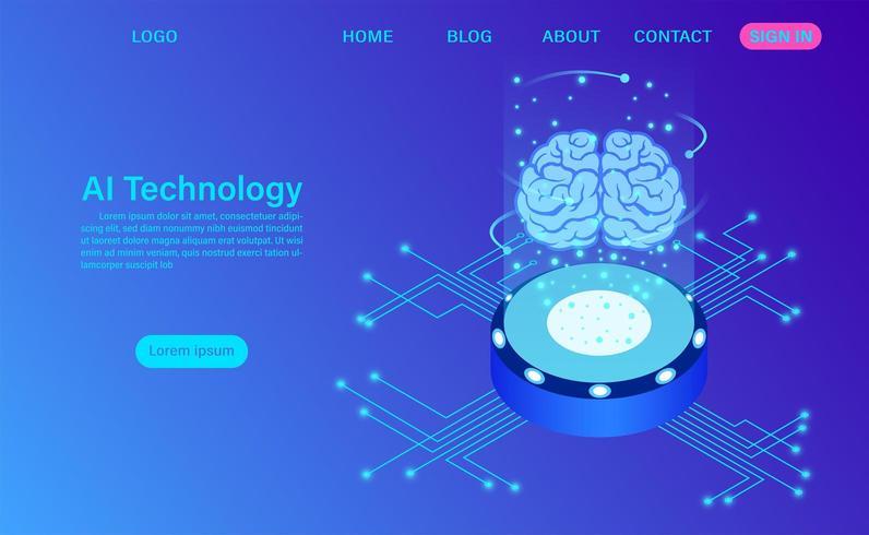Concepto de tecnología de inteligencia artificial vector