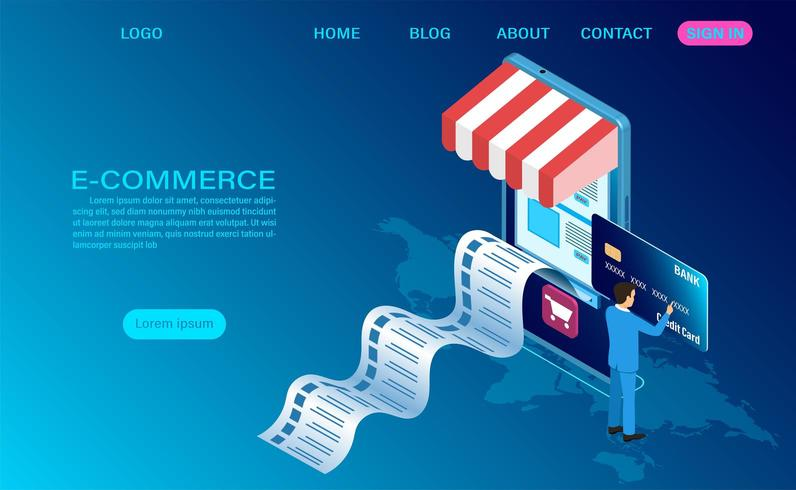 E-commerce shopping online concept vector