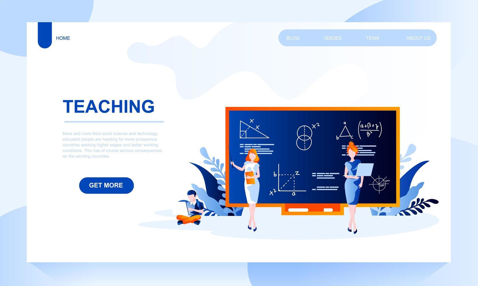 Plantilla de página de destino de vector de enseñanza con encabezado