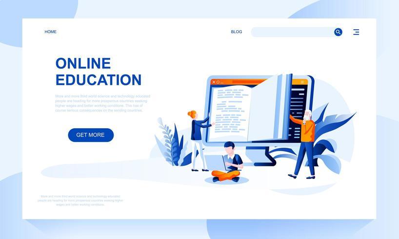 Modèle de page de destination de vecteur d'éducation en ligne avec en-tête