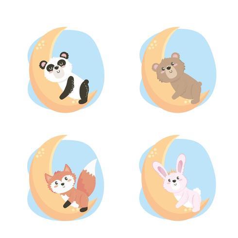set di simpatici animali selvatici nella luna vettore