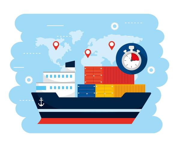 transporte de buques con contsiners y ubicación de mapa global vector