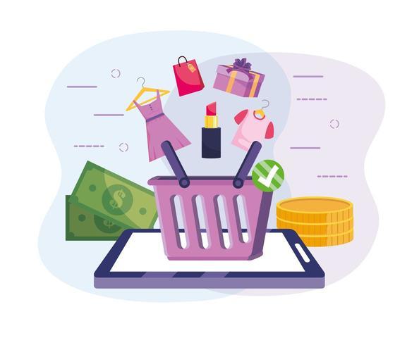 tecnología de tableta con cesta de compras en línea vector