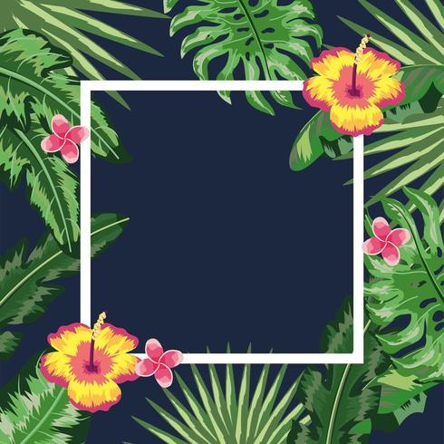 Marco cuadrado con fondo de flores y plantas vector