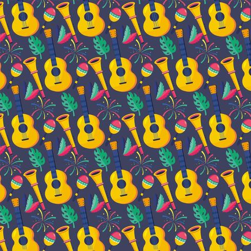 guitar with trumpet and maracas with feathers background vector