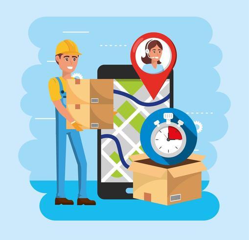 repartidor con cajas y teléfono inteligente con ubicación en el mapa y servicio de centro de llamadas vector