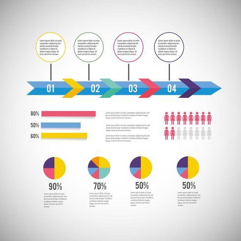 Diagrama de negocios de infografía con estrategia de información vector