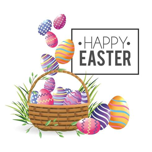 Happy Easter eggs decoration with grass inside basket vector