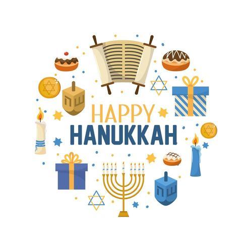 happy hanukkah decoration to traditional religion vector