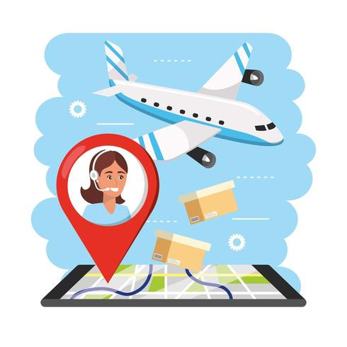 aiplane transport with woman call center agent information and smartphone gps vector