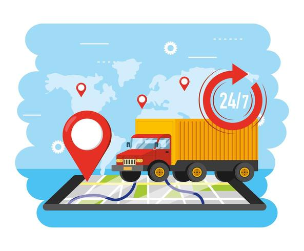transporte de camiones con ubicación de gps de teléfonos inteligentes vector